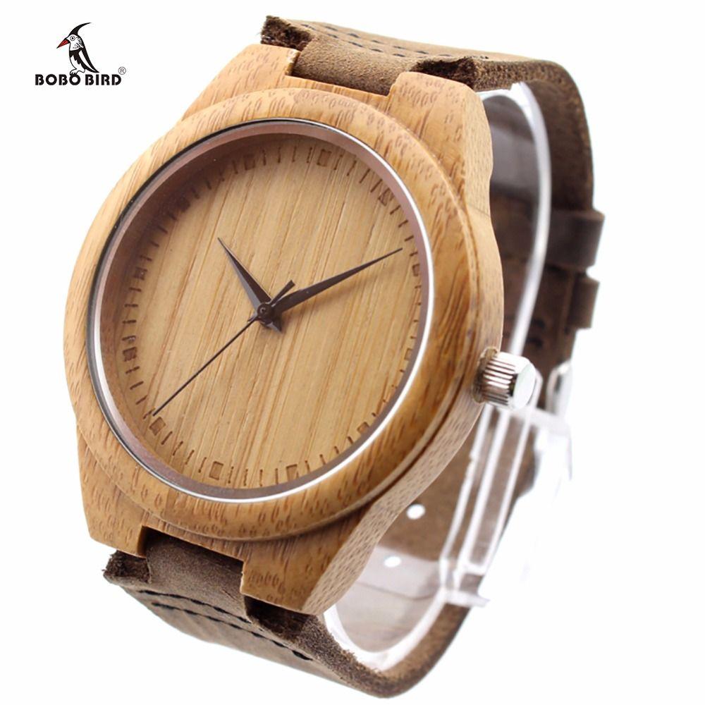 BOBO oiseau Unique amant naturel bambou bois décontracté montres à Quartz Style classique avec bracelet en cuir véritable dans la boîte-cadeau
