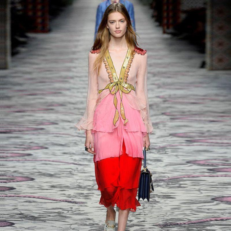 Runway Desinger Women Dress 2018 Spring Summer High Quality Vintage Boho Long Sleeve Patchwork Bow Chiffon Maxi Dress Vestidos