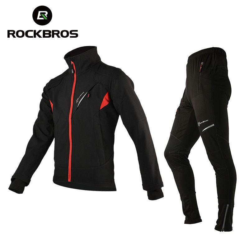 ROCKBROS Radfahren Jersey Sets Winter Thermische Fleece Radfahren Kleidung Winddicht Reiten Fahrrad Reflektierende Jacke Sportswear Hosen