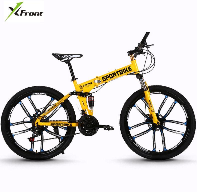 Nouveau x-front marque 26 pouces en acier au carbone 21/24/27 vitesse une pièce roue vélo pliant descente bicicleta vtt vélo de montagne