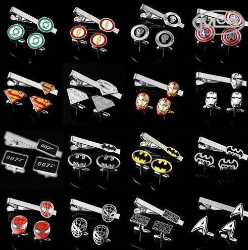 Free shipping Cufflinks Tie Clips Set Superheroes designs copper material men tie clips cufflinks wholesale&retail