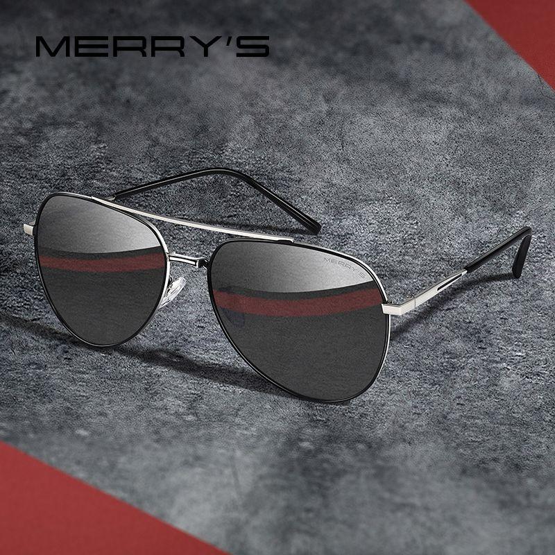 MERRYS DESIGN hommes classique pilote lunettes de soleil cadre Aviation HD polarisé mode lunettes de soleil pour conduite Protection UV400 S8218
