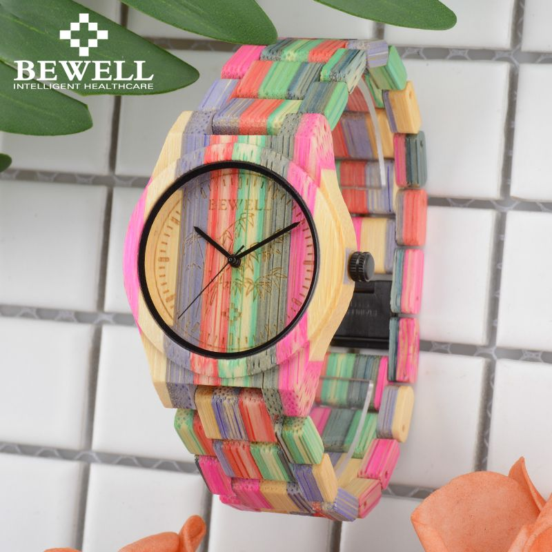 BEWELL 105DL Nature Handmade Colorful Bamboo Wood Watch Women Analog Quartz Fashion WristWatch with Mix Colors Free Shipping