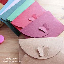 10 PCS/LOT Coloré Papillon Boucle Kraft Papier Enveloppes Simple Amour Rétro Boucle Enveloppe Décorative Petit Papier Enveloppe