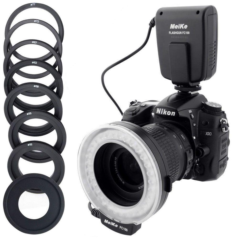 Original Fashion Designer Meike FC-100 LED Macro Speedlite Ring Flash Light for Canon 650D 700D 70D 7D II 60D T4i T3i 6D Flashes