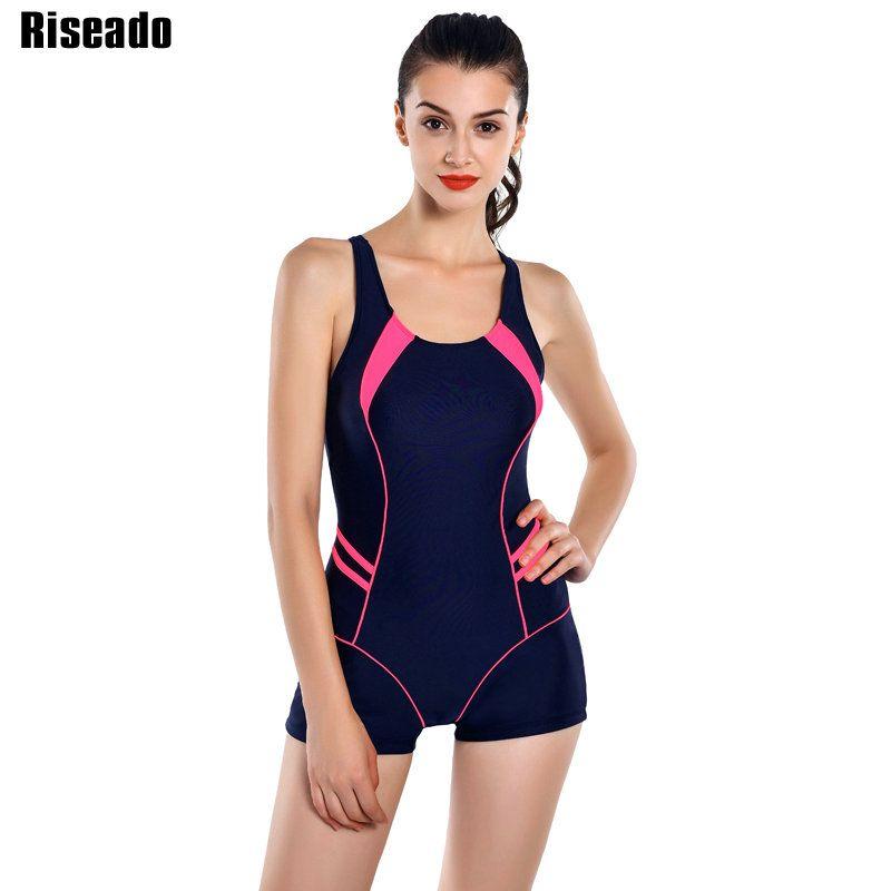 Riseado New 2018 One Piece Swimsuits Patchwork Swimwear Women Boyshort Racer Back Bathing Suits Women's <font><b>Swimming</b></font> Suit