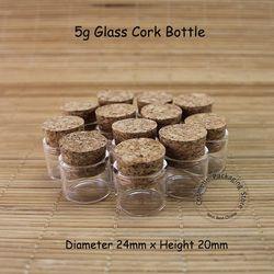 50 pcs/Lot Promosi 5g Kaca Vail Gabus Botol Mini 5 ml Kosong Kosmetik Wadah Sampel Jar Refillable Stopper Kecil kemasan