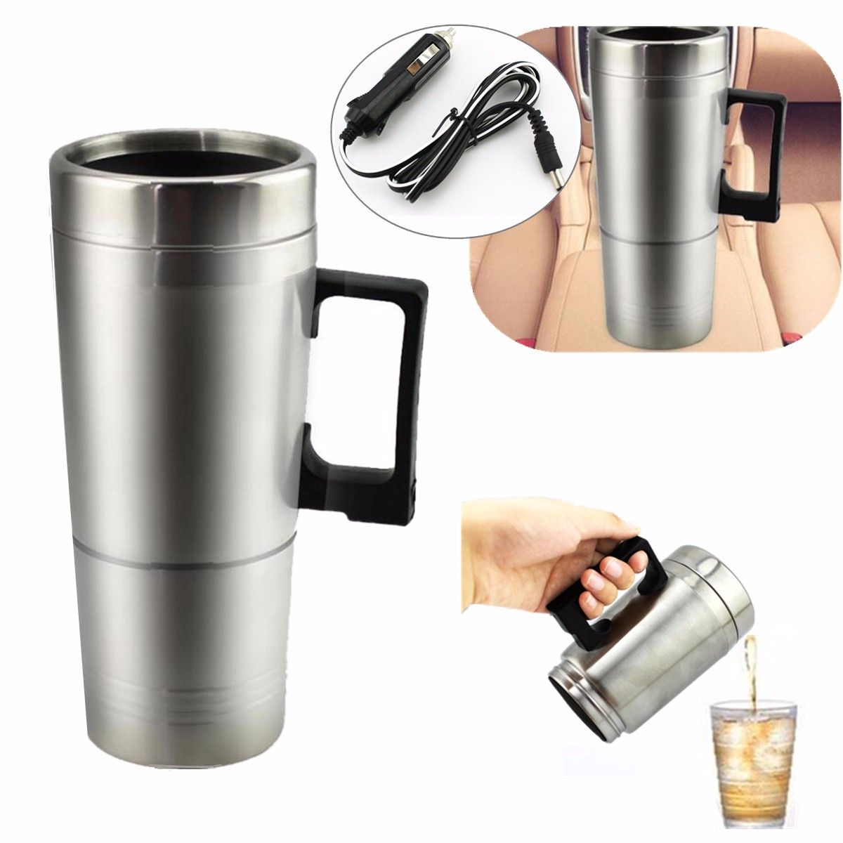 1PCs 12V Stainless Steel Car Heating Cup Milk Water Tea Coffee Bottle Warmer Heated Travel Mug For Traveling Camping