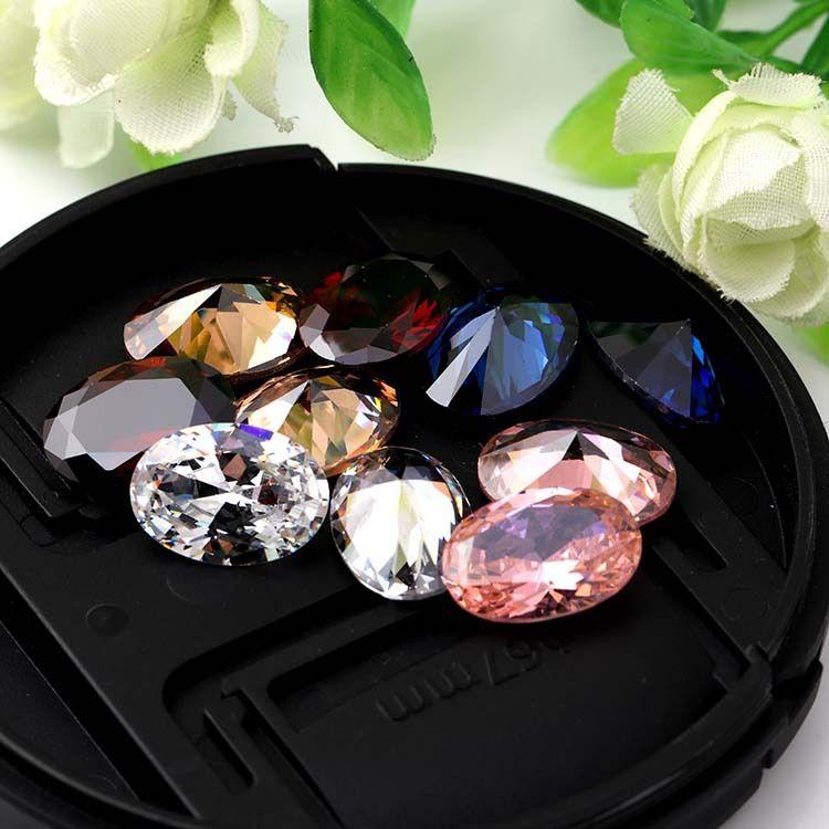 high-quality Oval shape pointback zircon Color zircon wholesale 10x14mm 10pcs/pack
