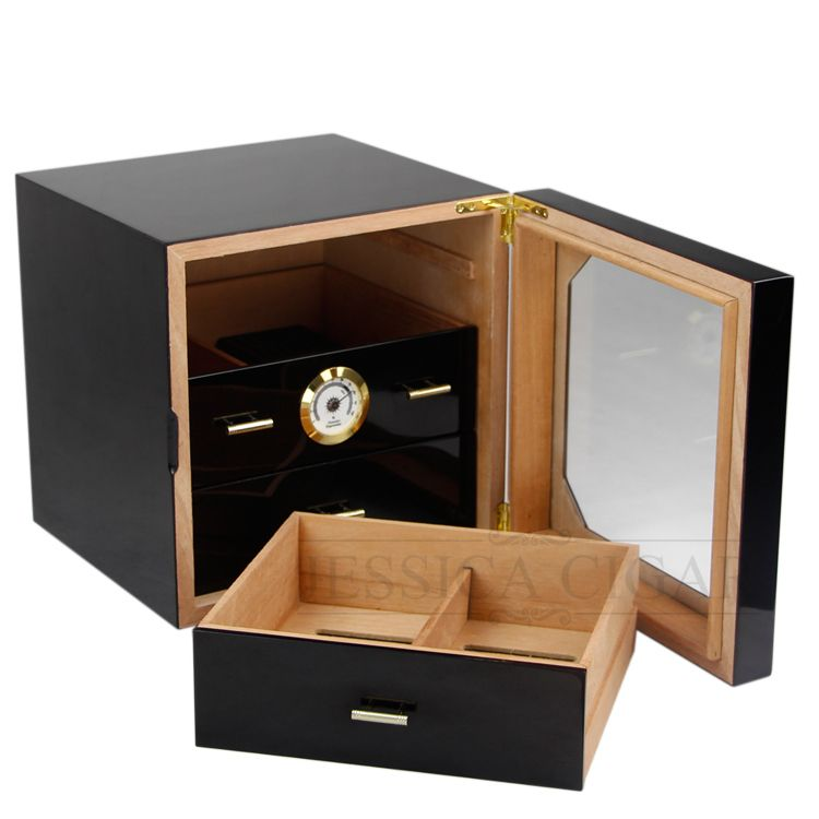 Black High Gloss Cigar Humidor Cabinet Humidor Box Cedar Wooden Cigars Case Box W/ Humidifier Hygrometer For COHIBA Cigars