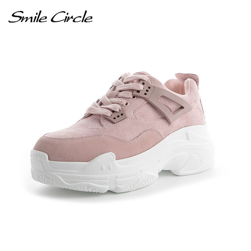 Smile Circle Spring/Autumn Women Shoes Suede Leather <font><b>Sneakers</b></font> Fashion Lace-up Flat Platform Shoes Warm Plush Winter Shoes 35-40