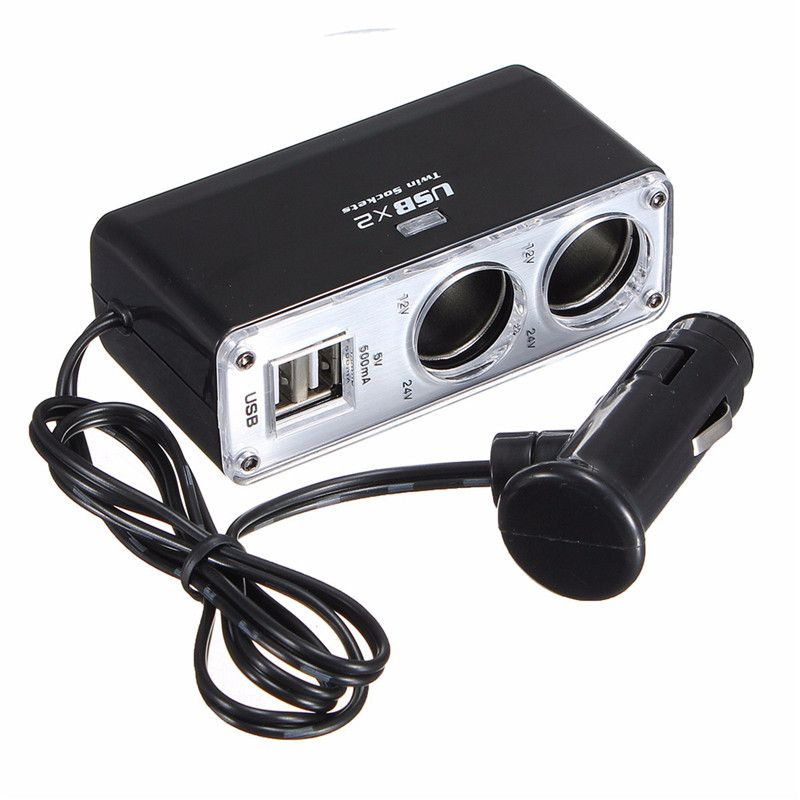 USB 2 Порты и разъёмы 2 Way автомобиля Зарядное устройство Мощность Adaper гнездо Splitter адаптер DC 12 ~ 24 В черный