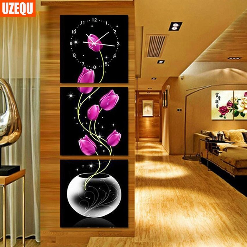 UzeQu Triptych Full Diamond Embroidery Wall Clock 5D DIY Diamond Painting Cross Stitch Flower Watch Diamond Mosaic Rhinestones