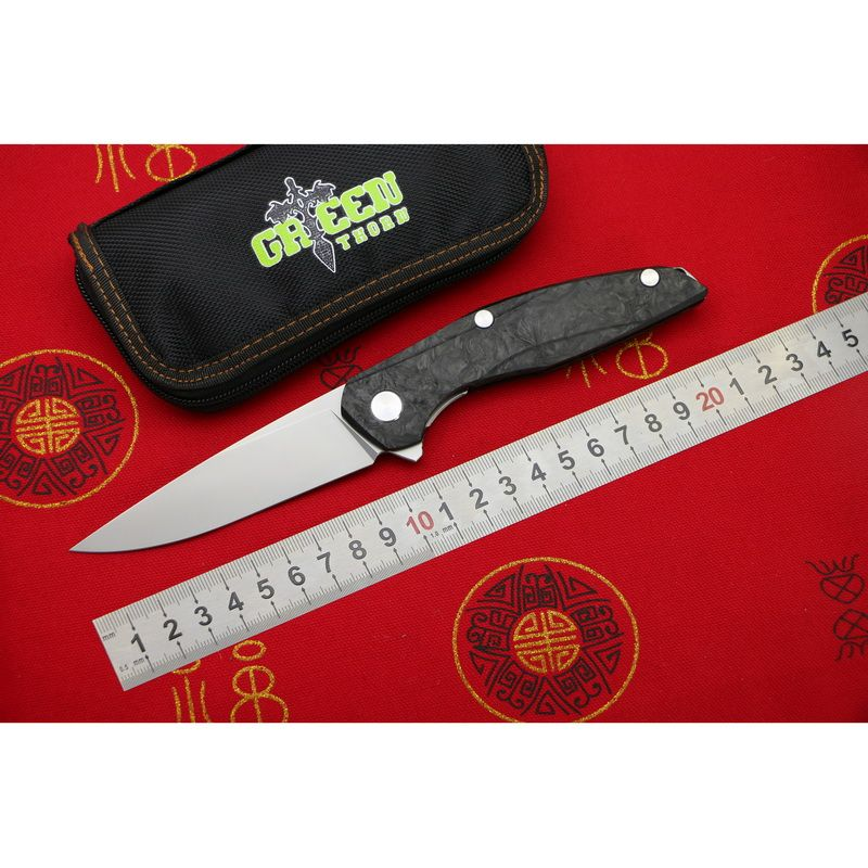 Green thorn Flipper F111 M390 blade Steel carbon fiber handle folding knife outdoor camping hunting pocket fruit knives EDC tool