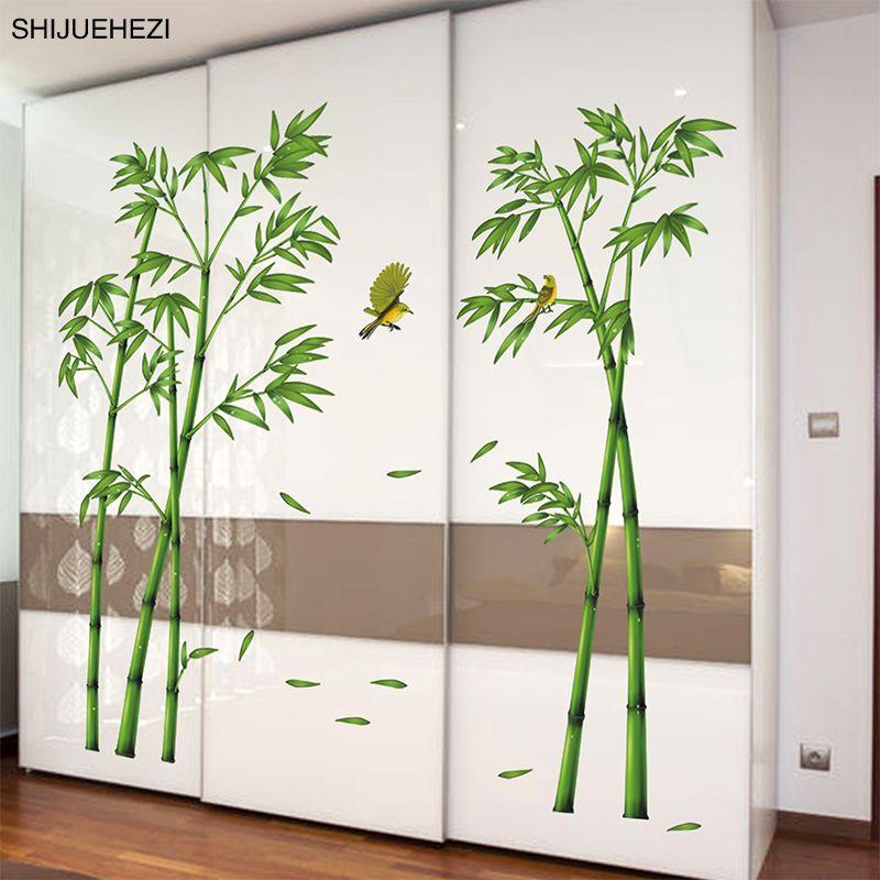 [SHIJUEHEZI] Vert Bambou Oiseaux Plantes Pastorale Style Sticker Mural pour Salle D'étude Salon Armoire Décoration Murale Art