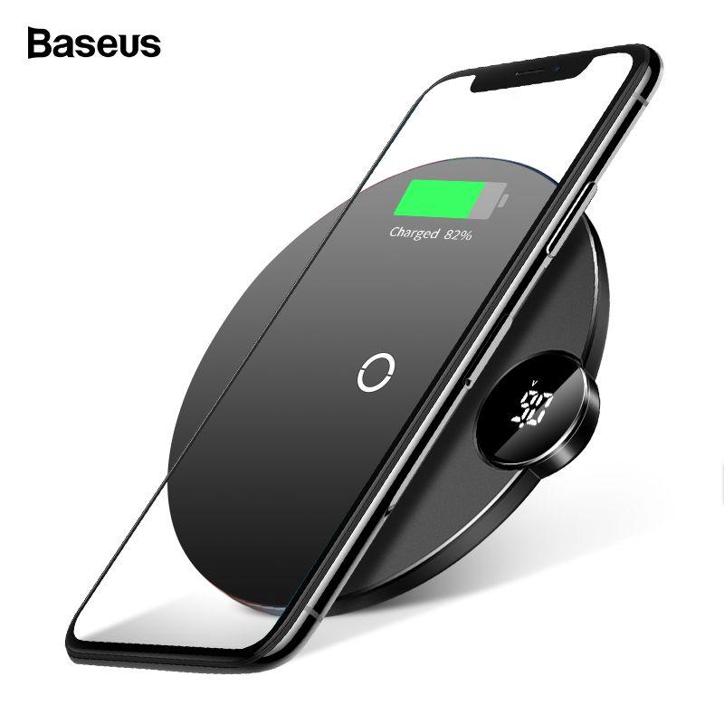 Baseus V/Un LED Affichage Qi Sans Fil Chargeur Pour iPhone Xs Max XR X 8 Plus Rapide De Bureau Wireless de charge Pad Pour Samsung Note 9 8