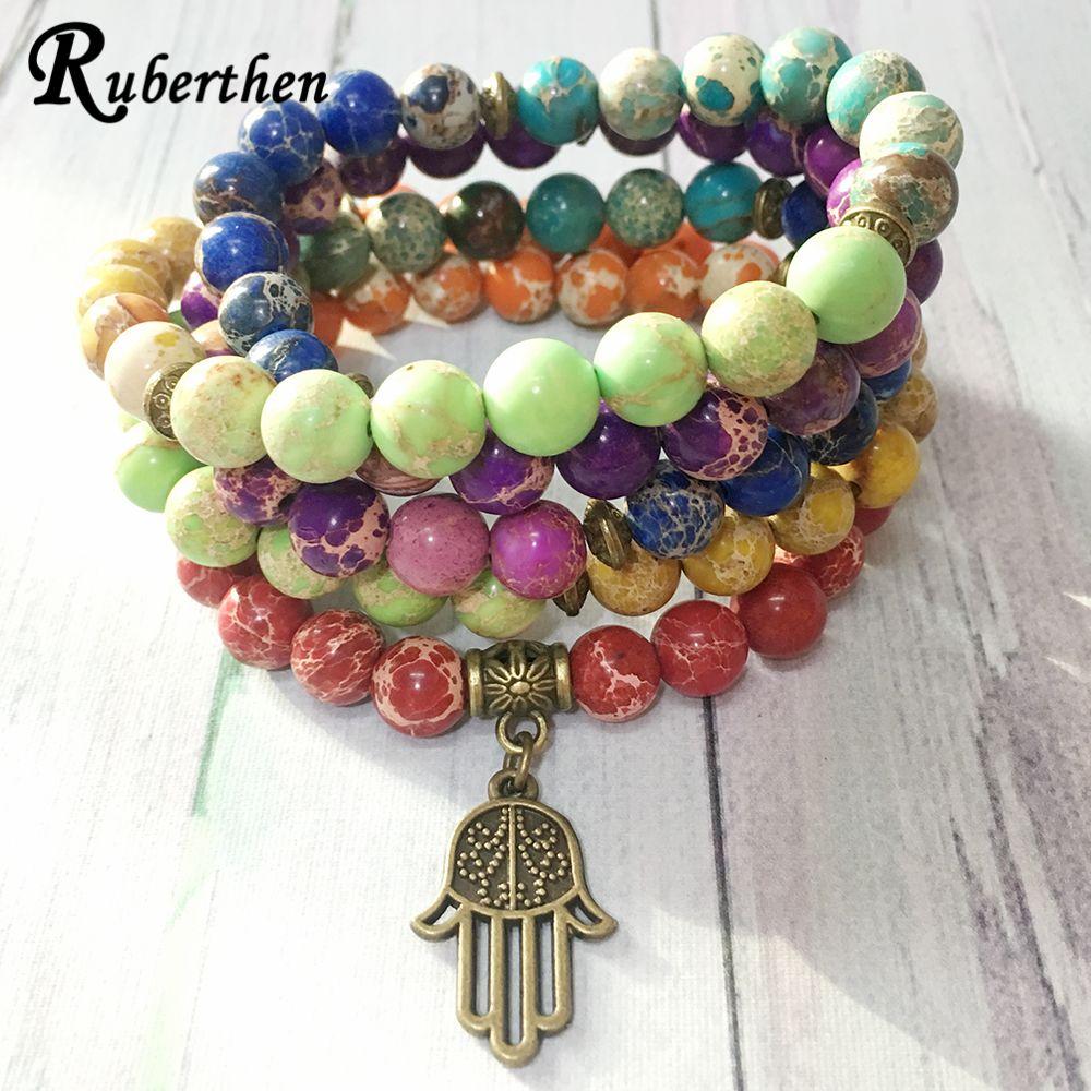 Ruberthen Design de mode 7 Chakra Regalite perles Bracelet en laiton Ohm charme Yoga Bracelet 108 Mala énergie Balance bijoux