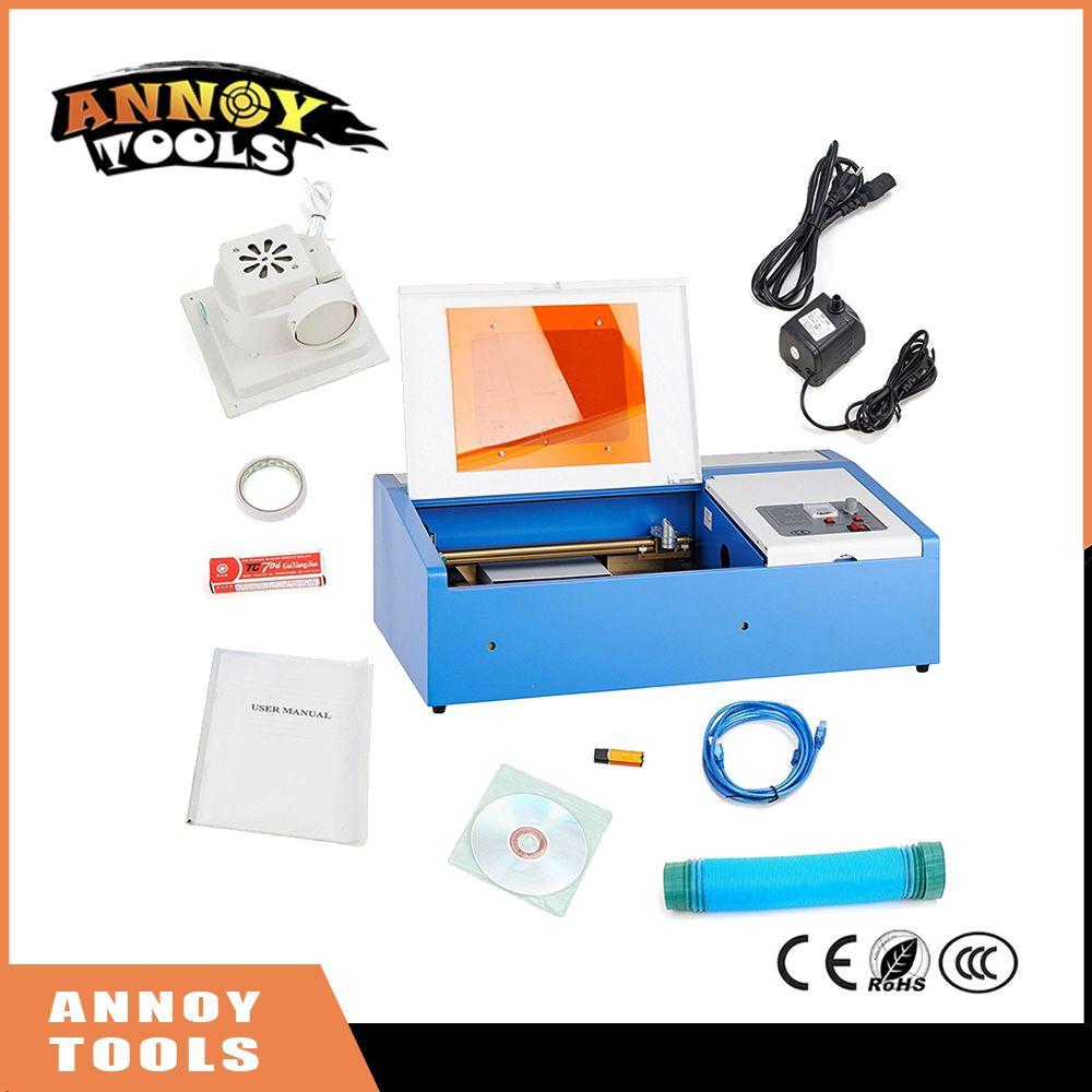 Laser Gravur Maschine 40 watt CO2 Laser Stecher 300x200mm Laser Schneiden Maschine mit Auspuff Fan USB Port