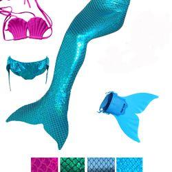 4 шт. хвосты маленькой русалки одежда заплыва костюмы косплэй с монофин Kid купальный костюм Zeemeerminstaart Cola De Sirena Cauda