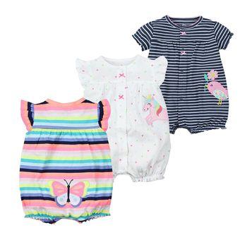 Bébé Filles Barboteuses D'été De Mode À Manches Courtes Bébé Vêtements Tout-petits Roupas Vêtements Nouveau-Né Bébé Vêtements Salopette Infantile Animal