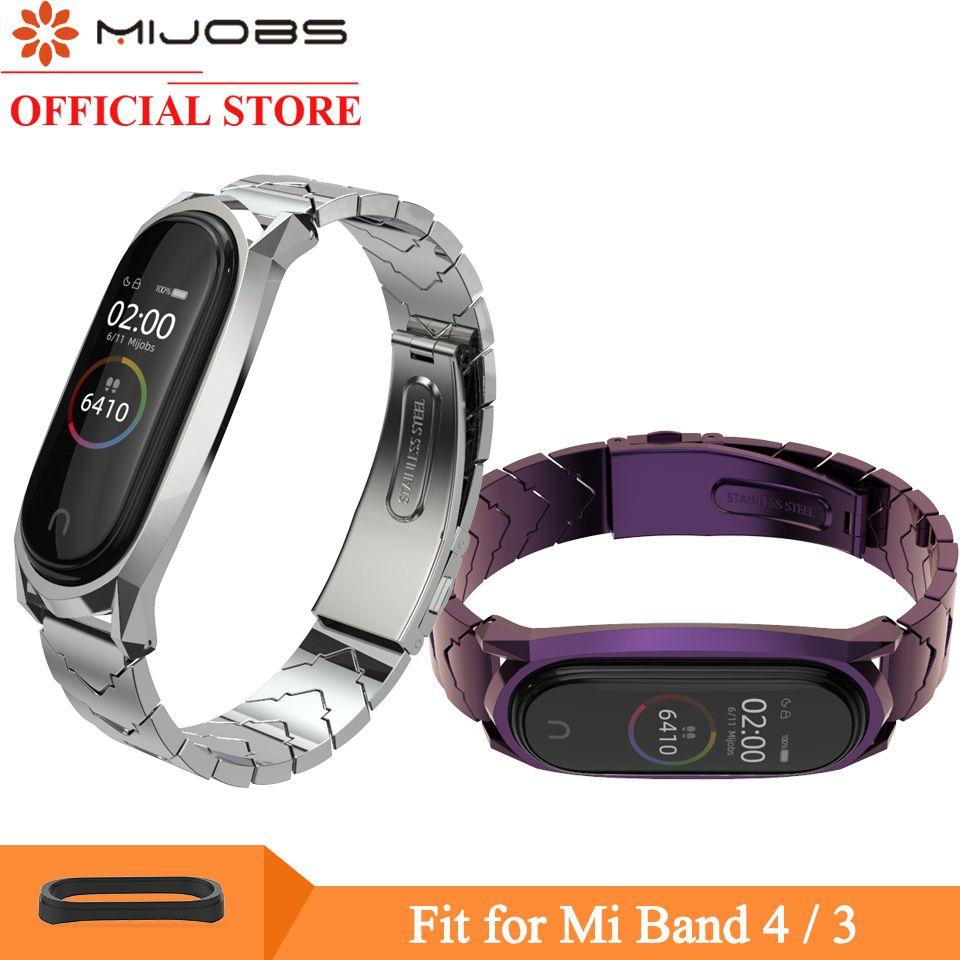 Mijobs for Mi band 4 Strap Metal Bracelet for Xiaomi Mi Band 4 3 Strap Screwless Stainless Steel MiBand 3 Wrist Band Wristband