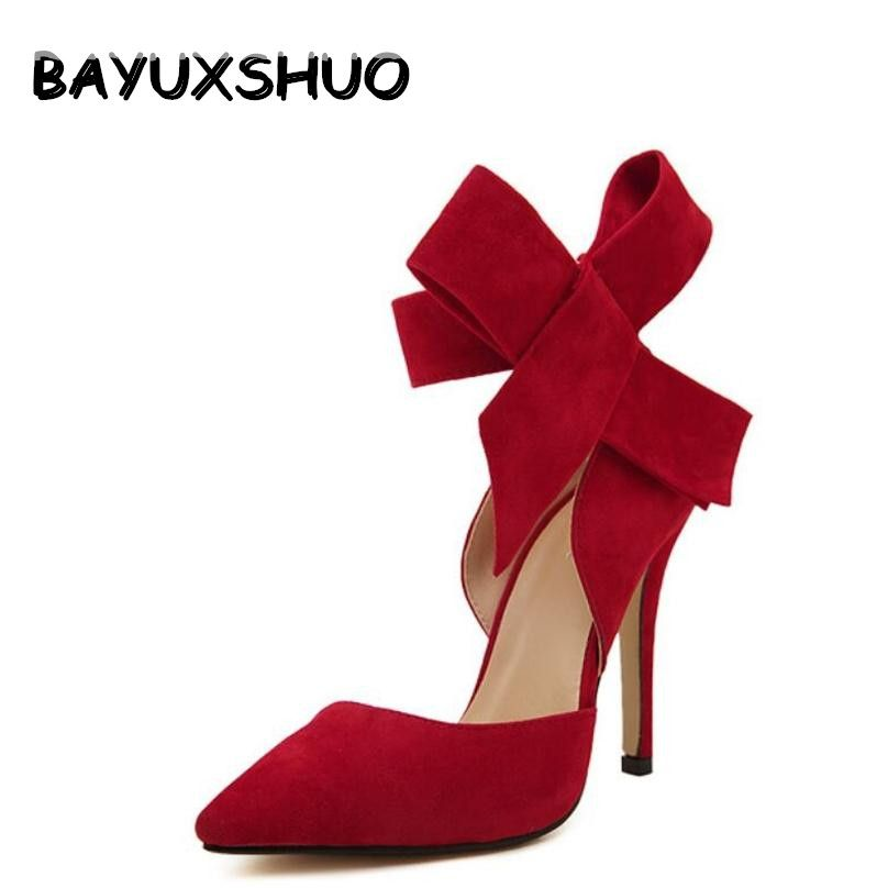 BAYUXSHUO Women Big Bow Tie Pumps Butterfly <font><b>Pointed</b></font> Stiletto Shoes Woman High Heels Plus Size Wedding Shoes Bowknot advisable