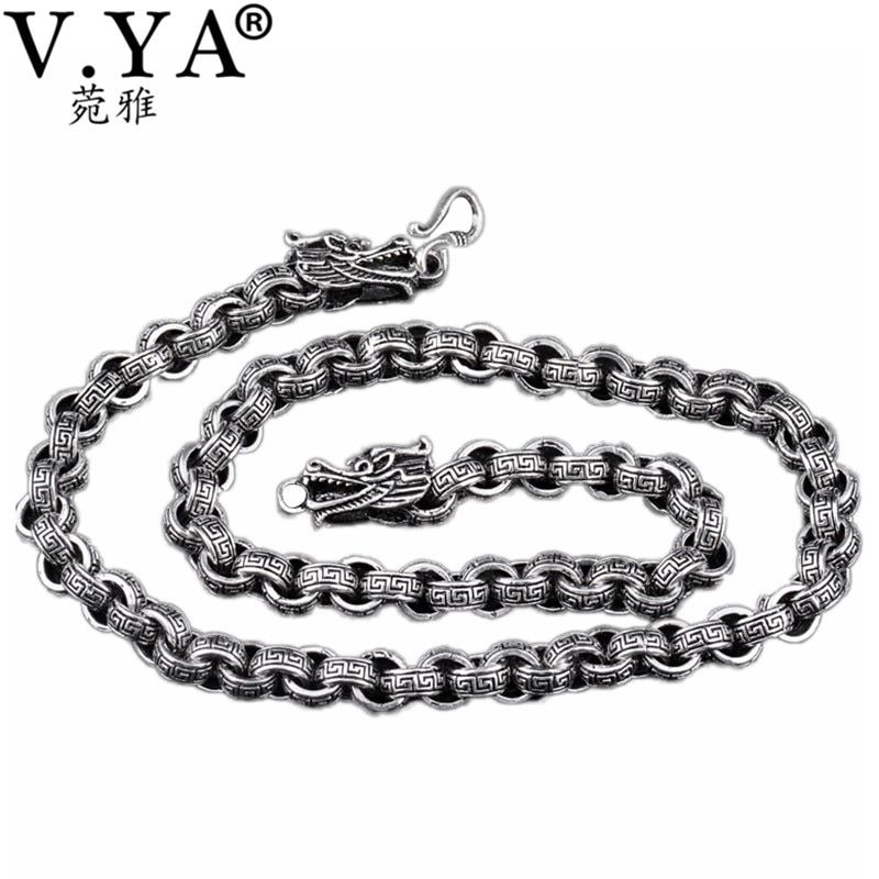 Dragon Head 8MM 925 Silver Chain 100% Pure S925 Sterling Silver Chain Necklace Thai Silver Necklaces Women Men Jewelry HYN25