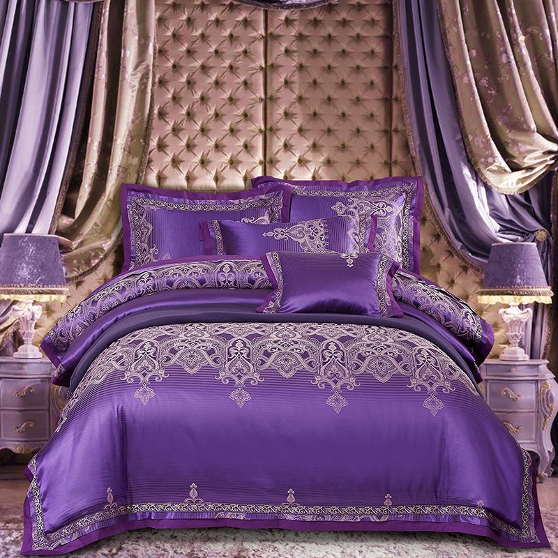 Purple Silver Satin Cotton Luxury Bedding set Queen King size Duvet cover Bed sheet set Pillowcases Silky Soft Bedclothes
