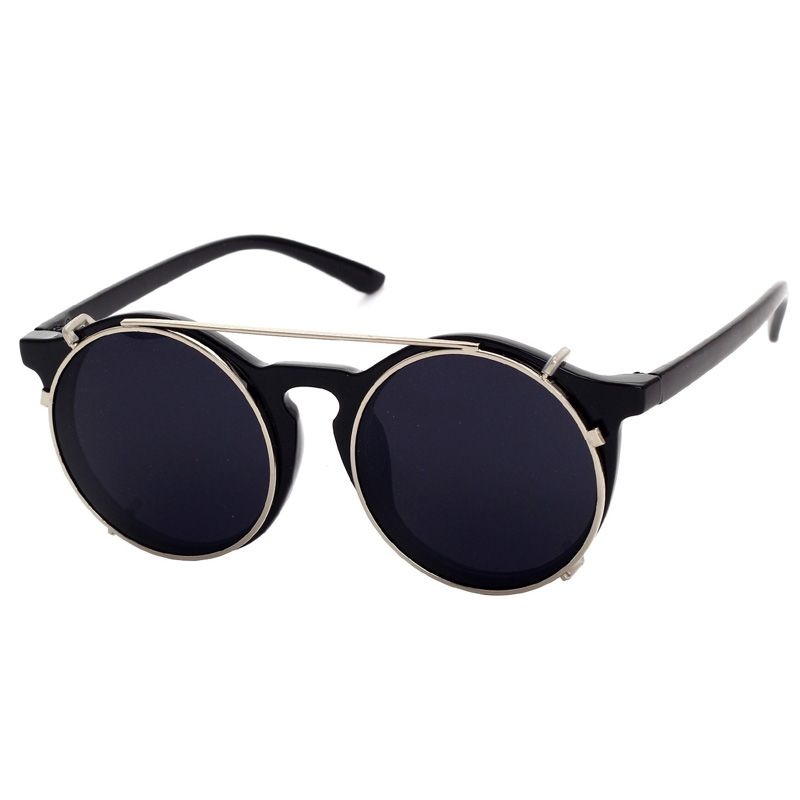 Cubojue Clip on Round Sunglasses Men Women Vintage Steam Punk Sunglasses-men Retro Mirror Sunglass 2018 Designer Uv400 Glasses