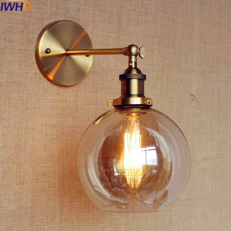 IWHD Loft Industrial Led Wall Lamp Vintage Iron Glass Arm Sconce Retro wall Light Up Down Luminaire On the Wall Lighting stairs
