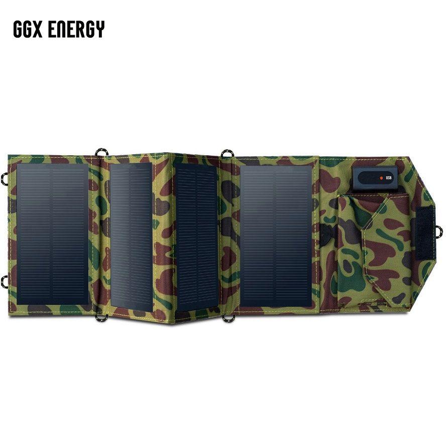 GGX ENERGY 8W chargeur solaire Portable pour téléphone Portable iPhone pliant Mono panneau solaire + chargeur de batterie USB solaire pliable