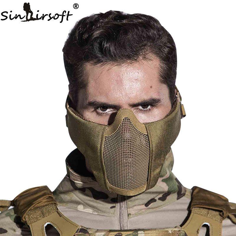 SINAIRSOFT Tactique Airsoft Masque Casque Demi Face Inférieure Métal Acier Net Chasse Protection prop pour Partie de Paintball Masque CS
