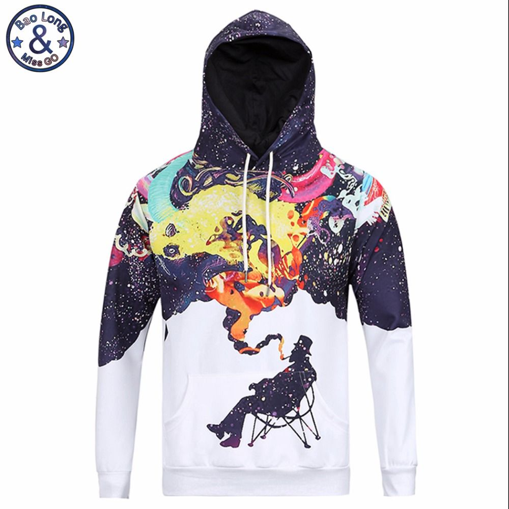 Mr.BaoLong very cool trend fashion youth hooded hoodies men 3D fummy Graffiti painted men's Harajuku hooded sweatshirts H4