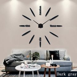 2019 New100% Positive feedback Wall Clock Acrylic Metal Mirror Super Big Personalized Digital Wall Watches Clocks  Free shipping