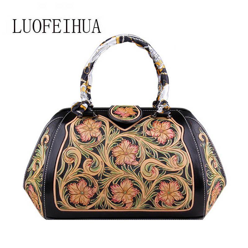 LUOFEIHUA 2019 neue damen hand-geschnitzt leder handtasche Original retro große kapazität designer tasche Boston tasche
