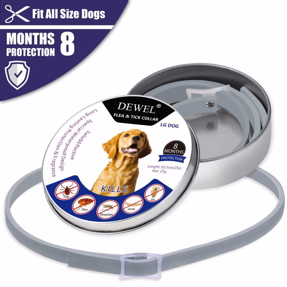 Dewel Pet collier pour chien Anti Puces Tiques Moustiques En Plein Air De Protection collier réglable pour animal familier 8 Mois À Long Terme Protection