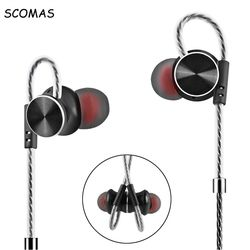 SCOMAS Universal 3.5mm In-Ear Stereo Headset Headphone For Mobile Phone Tablet Hi fi DJ headphones with Mic Earbuds Magnetic