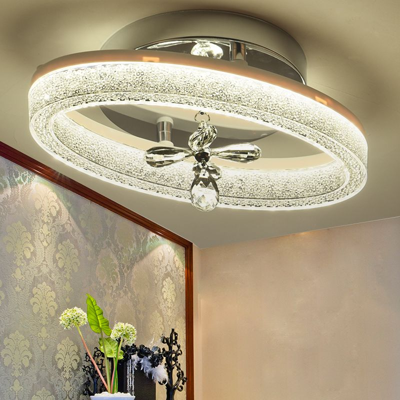 Modern Oval Crystal Iron LED Ceiling Lights Aisle Corridor Porch Balcony Stairs Lamps Lighting for home decoration luminaire
