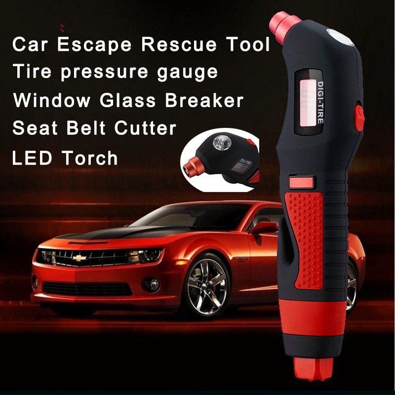 Auto car digital pressure gauge air tire pressure gauge meter Car Rescue Tool emergency rescue hammer LED torch flashlight