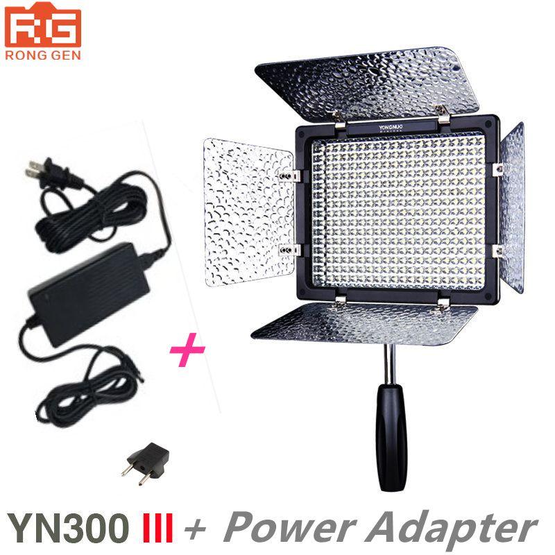 New Yongnuo YN300 III YN-300 lIl 3200k-5500K CRI95 Camera Photo LED Video Light with AC Power Adapter