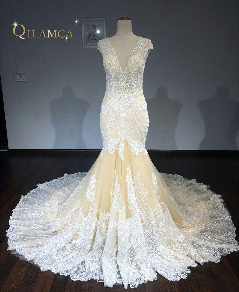 2018 Vintage Spitze Meerjungfrau Hochzeitskleid Türkei Vestido de Novia Perlen Lace Sheer Brautkleider Robe mariee Sexy Brautkleider