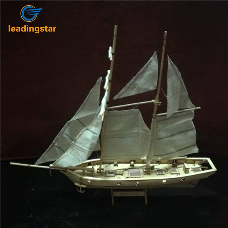 LeadingStar 1:100 <font><b>Scale</b></font> Wooden Wood Sailboat Ship Kits Home DIY Model Home Decoration Boat Gift Toy for Kids zk40