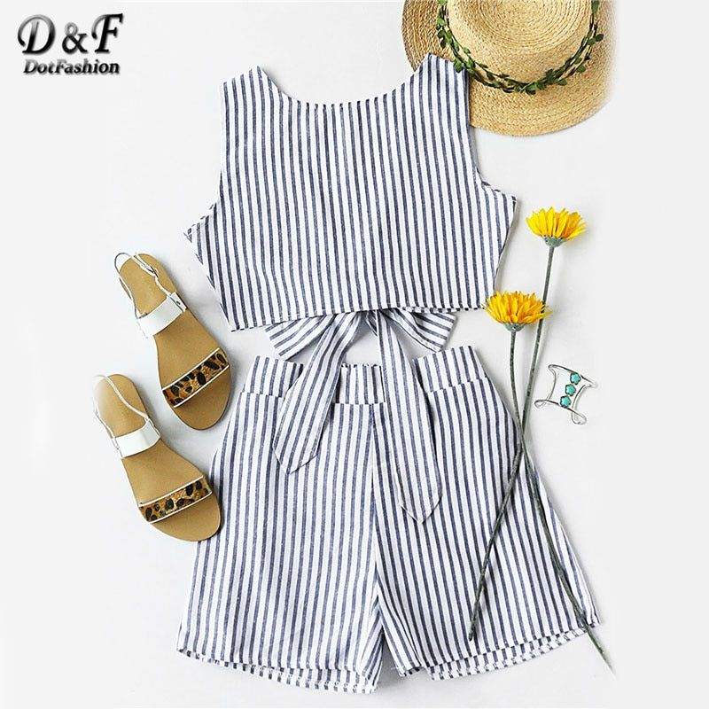 Dotfashion <font><b>Striped</b></font> Women Two Piece Set Bow Tie Open Back Knotted Crop Tank Top With Shorts Backless 2017 Sexy Women Outfit