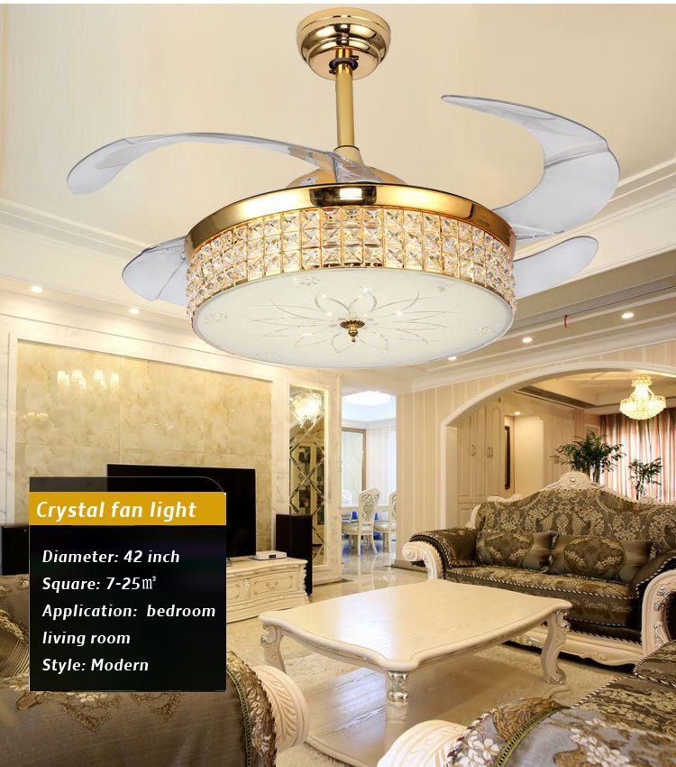 Luxus Kristall Decke Fan Licht Dimmen Control K9 Kristall Decke Fan Licht Einfache Haushalts Wohnzimmer Fan Lampe 42 zoll