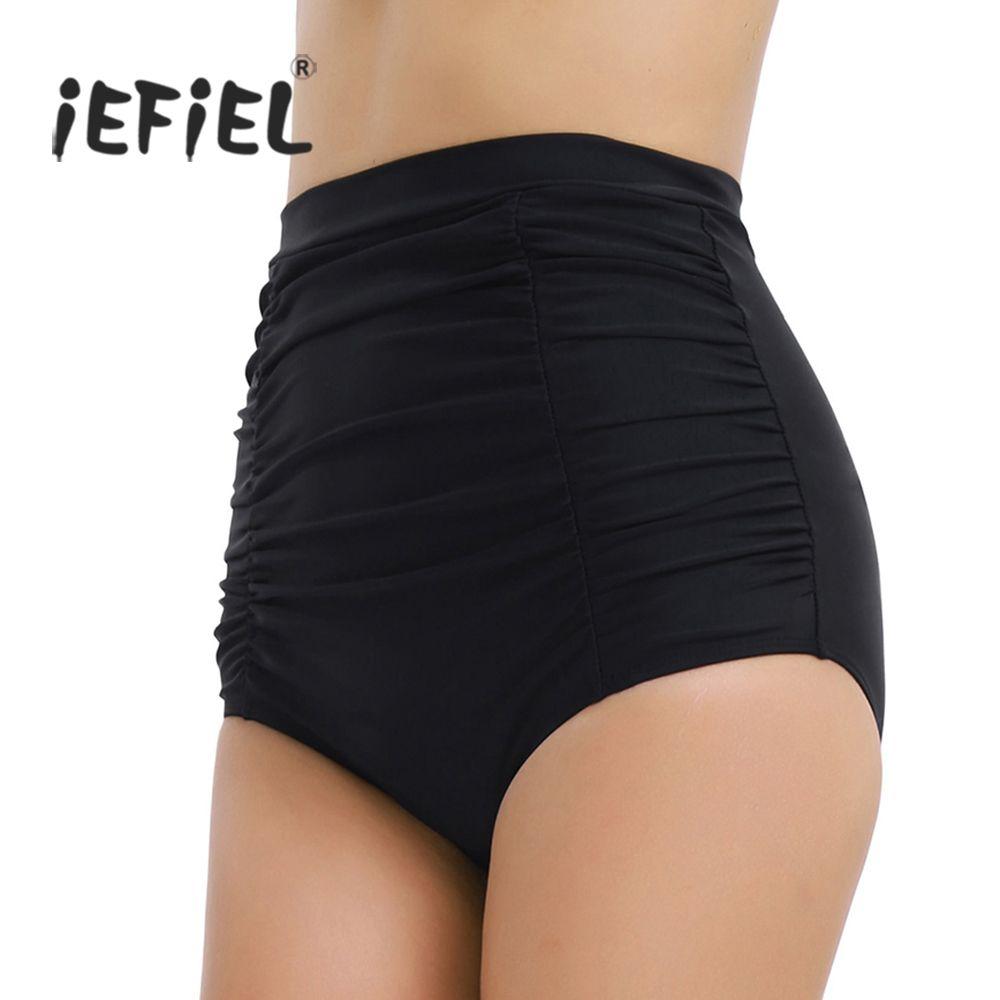 Black High Waist Women High Waisted Skinny Ruched Bikini Bottoms Shorts Outside Fashion Women's Summer Beach Wear Shorts