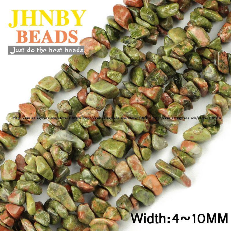 JHNBY Unakite stein Unregelmäßigen Kies perlen Top qualität naturstein 88 cm strang Chips Lose perlen Schmuck armband, DIY