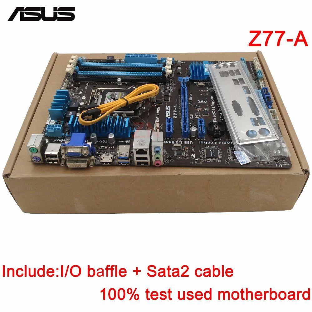original Used Desktop motherboard For ASUS Z77-A support Socket LGA 1155 I7 I5 I3 4*DDR3 support 32G 2*SATA3 4*SATA2 ATX
