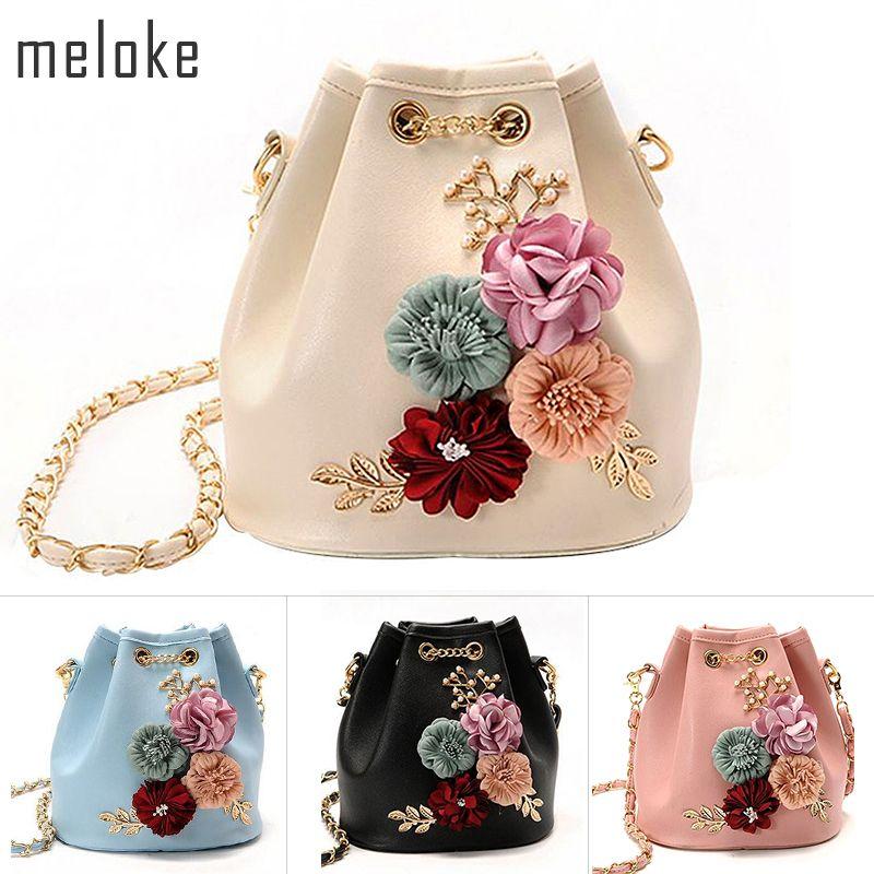 Méloke 2019 sacs à main fleurs seau Mini sacs à bandoulière avec cordon de chaîne petits sacs à bandoulière sacs à perles feuilles décalcomanies