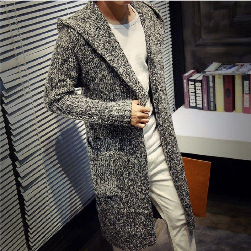 Uwback Для мужчин sweatercoat 2018 Весна Пальто для будущих мам с карманами толстые Трикотажный кардиган мода плюс Размеры 5xl длинные свитера хаки xa165
