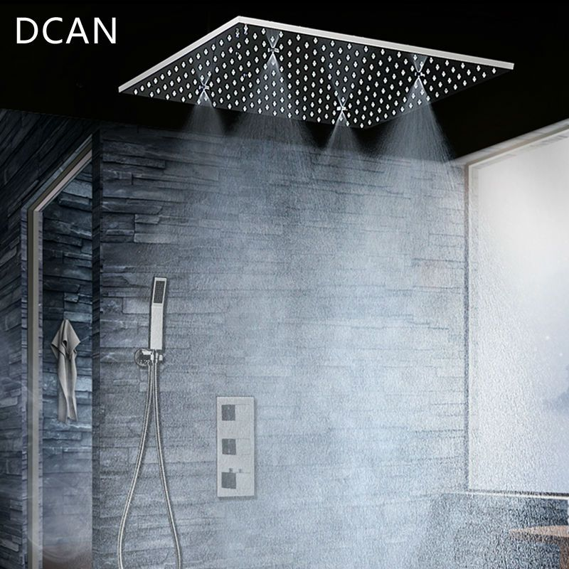 DCAN Two Function Ceiling Shower Head Set 20 Inch Misty Rain Bathroom Thermostatic Shower Spa With 4 Arms Bath & Shower Faucets